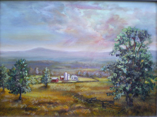 Katalin Luczay Artwork Farm in Hunterdon County NJ, 2008 Oil Painting, Farm