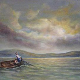 Katalin Luczay: 'Home coming', 2005 Oil Painting, Sea Life. Artist Description:  Two people father and sun fishing in Hungary. The picture was inspired while walking by the lake and watching the late afternoon sun. ...