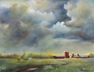 Katalin Luczay Artwork New Jersey Red Barn, 2016 Oil Painting, Landscape