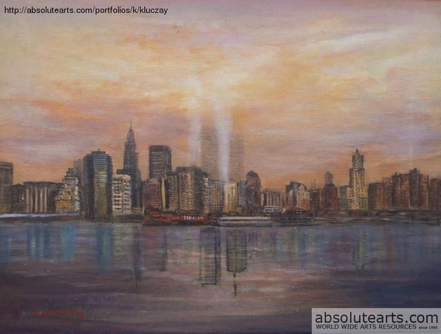 Katalin Luczay  'Towers Of Light New York', created in 2013, Original Pastel Oil.