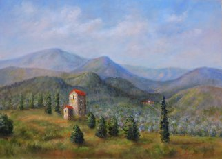 Katalin Luczay: 'tuscany italy landscape', 2018 Oil Painting, Architecture. Artist Description: Tuscany landscape, Tuscan mountains, olive groves Tuscany, Italy oil painting, Italy Tuscany painting, Summer landscape of Tuscan hills...