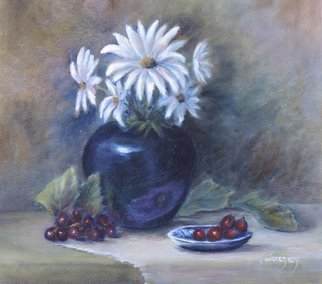Katalin Luczay: 'wild flowers', 2017 Oil Painting, Nature. Artist Description: Country life, Nature painting, flower painting, daises, still life of daisies, classical still life art, rural scene, farm scene painting, American realism, floral painting...