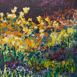 Karin Neuvirth: 'Twilight Garden', 2014 Acrylic Painting, Floral. Artist Description:   Abstract floral acrylic painting done with a palette knife.  Dark Sky, Golden flowers, Vibrant colors, on Canvas. ...