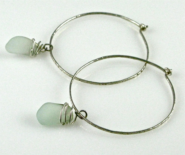 Cheryl Brumfield-Knox  'Beach Glass And Sterling Silver Hammered Hoops', created in 2011, Original Glass.