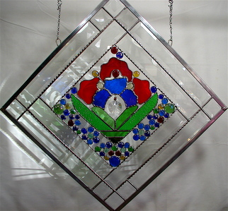 Stained Glass by Cheryl Brumfield-knox titled: Glass Garden original stained glass panel, created in 2010