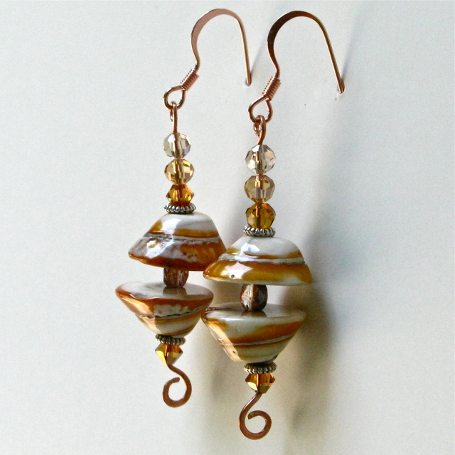 Cheryl Brumfield-Knox  'Golden Shells With Copper And Crystals', created in 2011, Original Glass.