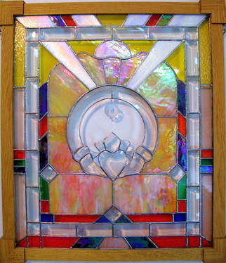 Stained Glass by Cheryl Brumfield-knox titled: Irish Claddagh Original Stained Glass Panel, created in 2009