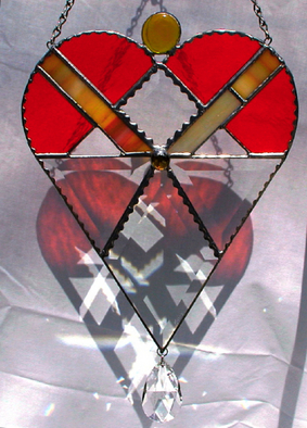 Stained Glass by Cheryl Brumfield-knox titled: Original Stained Glass Orange Jewel Heart, created in 2009
