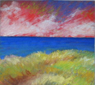 Beach Pastel by Cheryl Brumfield-knox Title: Red Sky DETAIL OF PASTEL, created in 2009