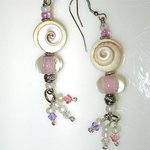 Shells and Pastels with Swarovski Crystals on Sterling Silver wires By Cheryl Brumfield-Knox