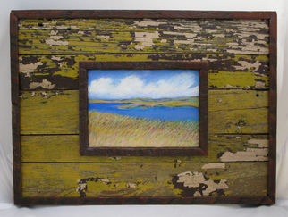 Beach Pastel by Cheryl Brumfield-knox Title: Swept Up pastel framed in Hurricane Katrina salvaged wood siding, created in 2009