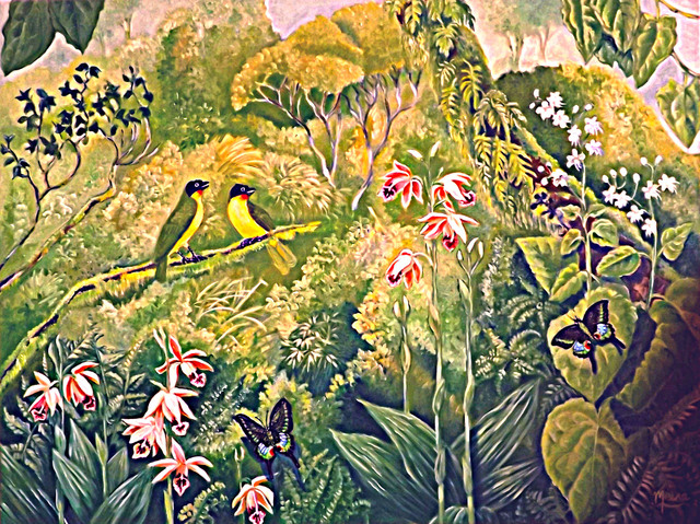 Meenakshi Subramaniam  'Ruby Throated Bulbuls And Orchids', created in 2015, Original Painting Acrylic.