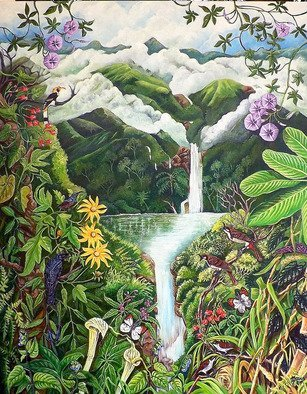 Meenakshi Subramaniam: 'The Source 2', 2016 Acrylic Painting, Nature. Artist Description:            Bird Art India, Wildlife, Nature , Western Ghats, Kerala, endemic  Butterflies of tropical forests in India     Birds, waterfalls, clouds birds and butterflies  ...