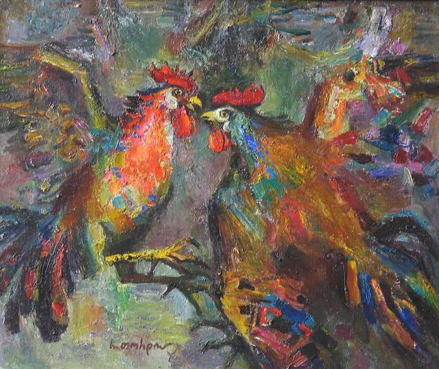 Radish Tordia  'Roosters', created in 2004, Original Painting Oil.