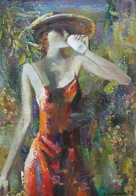 Radish Tordia Artwork Woman in Vintage, 1992 Oil Painting, Figurative