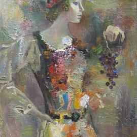 Radish Tordia: 'Woman with Bunch of Grapes', 2000 Oil Painting, Figurative.