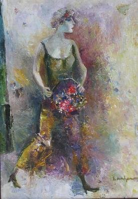 Radish Tordia Artwork Woman with Flowers, 2011 Oil Painting, Figurative