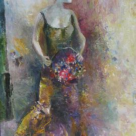 Radish Tordia: 'Woman with Flowers', 2011 Oil Painting, Figurative.