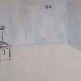 Andrea Kollar: 'Alone', 2010 Oil Painting, Interior.
