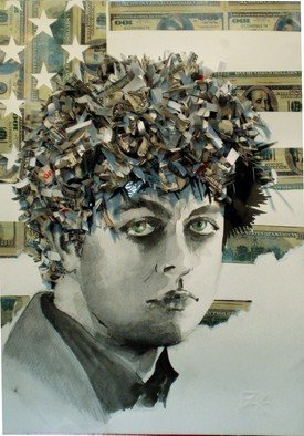 Yulia Korneva: 'Very Green Day', 2010 Other Drawing, Technology. Artist Description:  portrait, green, day, collage, ink, drawing, dollar, money, american, flag, singer, punk, armstrong, billie, joe, billie joe armstrong, hair ...
