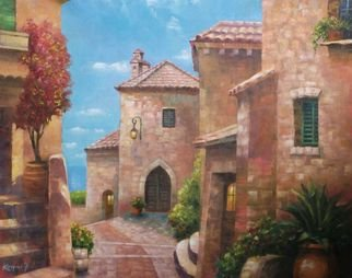 Korognai Janos: 'Street in Provance', 2015 Oil Painting, Garden.                                                                             Catalog number : K15 335                                                                               ...