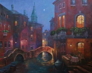 Korognai Janos: '    Star spectators in Venice ', 2015 Oil Painting, Cityscape.                                                                         Catalog number : K15 330                                                                           ...