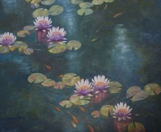 Korognai Janos: '    The life of my pond ', 2015 Oil Painting, Garden.                                                                            Catalog number : K15 330                                                                              ...