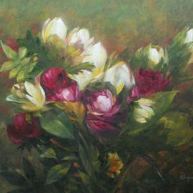 Korognai Janos: '    Tulip bunch', 2015 Oil Painting, Still Life. Artist Description:                                                                          Catalog number : K15 330                                                                            ...