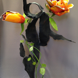 Ivan Kosta: '9 11 Objects Memories Vanquishment', 2014 Steel Sculpture, Abstract. Artist Description:  A colorful rose and rosebud growing through a piece of mangled steel        ...