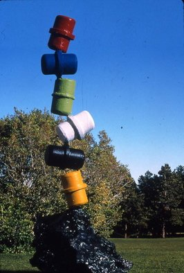Ivan Kosta: 'Barrelly Standing', 1998 Mixed Media Sculpture, Satire.  Several colorful barrels stacked upon each other in a precarious position, ready to tumble down. . . ...