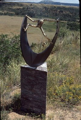 Ivan Kosta: 'Breaking The Circle', 1995 Mixed Media Sculpture, Abstract.  A cast bronze female figure strenuously pushing a broken circle open. . . Mounted on a triangular marble pedestal. ...