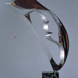 Ivan Kosta: 'Duette', 2004 Mixed Media Sculpture, Abstract. Artist Description:  Polished stainless steel in combination with african ebony. ...