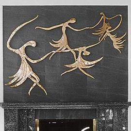 Ivan Kosta: 'Firefairies', 1997 Bronze Sculpture, Figurative. Artist Description: Apolished, cast bronze wallpiece on a dark green slate background, over a fireplace....