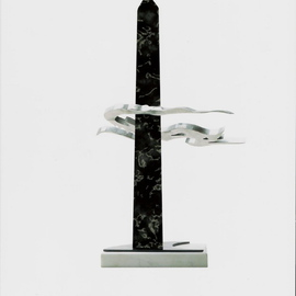 Ivan Kosta: 'Flame in the Hearts of Unsung Heroes', 2004 Mixed Media Sculpture, Abstract. Artist Description:  An image of a wind swept flame ( stainless steel) wrapped around a marble obelisk ...