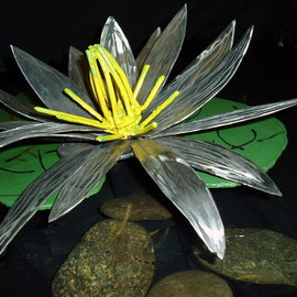 Ivan Kosta: 'July Water Lilly', 2010 Steel Sculpture, Abstract. Artist Description:  A stainless steel water lilly - side view    ...
