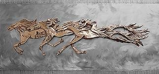 Ivan Kosta: 'Memory Riders', 1998 Steel Sculpture, Equine. Cast bronze on stainless steel background - horses with vague riders  galloping in the clouds. . . Viewers' imagination invited. ....