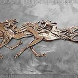 Ivan Kosta: 'Memory Riders', 1998 Steel Sculpture, Equine. Artist Description: Cast bronze on stainless steel background - horses with vague riders  galloping in the clouds. . . Viewers' imagination invited. ....