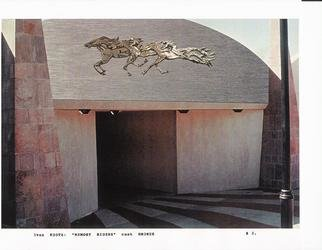 Ivan Kosta: 'Memory Riders Underpass', 1997 Mixed Media Sculpture, Equine.  Horses in bronze relief on the fascia of a pedestrian underpass ...