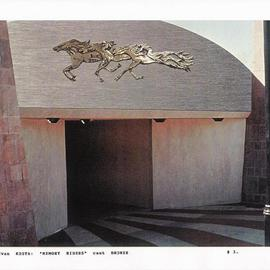 Ivan Kosta: 'Memory Riders Underpass', 1997 Mixed Media Sculpture, Equine. Artist Description:  Horses in bronze relief on the fascia of a pedestrian underpass ...