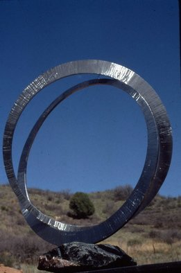 Ivan Kosta: 'Pour Toujours', 1999 Steel Sculpture, Abstract.   Two interlocked wedding rings  ...