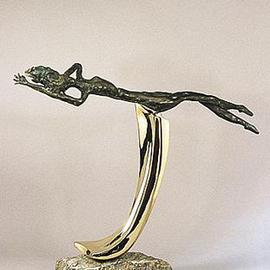 Ivan Kosta: 'RIDING THE  CREST', 1996 Bronze Sculpture, Figurative. Artist Description: The philosophical statement is the struggle of trying to be on the top of things despite all the adversity and keeping one' s head above the water at all times, and even ejoying the ride. . ....