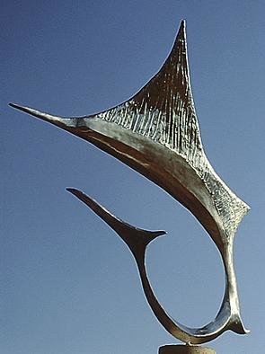 Ivan Kosta: 'Sailfish', 1995 Steel Sculpture, Marine. A cast stainless steel sailfish, leaping from the ocean on a triangular 3 feet high marble pedestal....