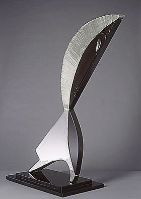 Ivan Kosta: 'Thais', 1997 Mixed Media Sculpture, Love.      ( Stainless steel and ebony)Female fame - cannot quell.                                                                                                                                                                                     honor of the sex eternally shines                   - never knell.Now and ever, the world' s delight  its splendor - bird in flight!Illustrious women - pleasure had wrought,extra dimension to lives had brought. Thais, one of many - fable immortal, dream of kings and beggars...