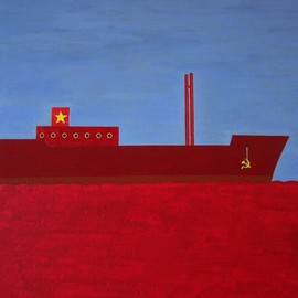 Panagiotis Kalantzis Artwork Red Ship, 2007 Acrylic Painting, Political