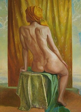 Evgeny Kovalchuk: 'face up to the sky', 2009 Oil Painting, Nudes. Artist Description: sky woman bodi oil panting...