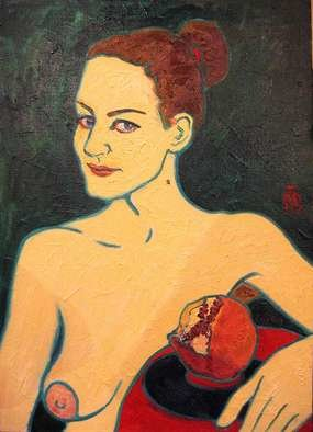 Evgeny Kovalchuk: 'girl with a pomegranate', 2007 Oil Painting, Portrait. Artist Description: oil canvas...