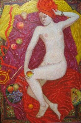 Evgeny Kovalchuk: 'the girl in the red', 2009 Oil Painting, Nudes. Artist Description: oil canvas ...