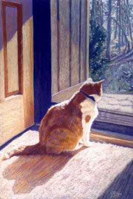 Kay Ridge Artwork Watch Cat, 2002 Pastel, Cats