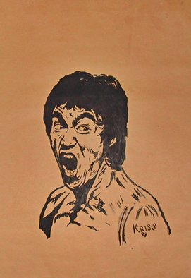 Cosmo Petrone: 'The Return Of The Dragon Bruce Lee', 1978 Ink Drawing, Celebrity.  This was my first of many works, when I was a young man. Its Indian ink on a yellow soft paper drawn by hand. It represents Bruce Lee in the Return Of The Dragon LUrlo di Chen movie. The look in his eyes gave me the strenght to go through...