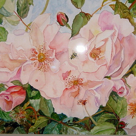 Bee on Pink Roses By Kristin Morrill